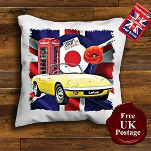 Lotus Elan Cushion Cover, Union Jack, Poppy, Mod Target, Phone Box, Choice of sizes, Handmade with a zip for cover removal. This is for a cushion Cover Only Pad Not Included. Our Cushion Covers are designed by us Aggies Bags covers are overlocked to give it strength and structure. we take a lot of pride in what we do, our unique Cushion Covers make a wonderful gift or just treat yourself.