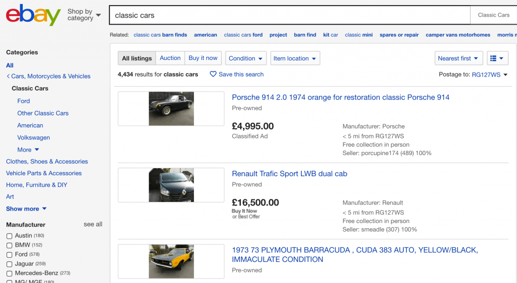 Classic Car Sales  – ebay United Kingdom