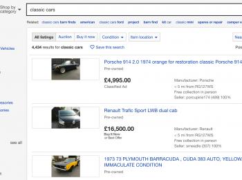 Classic Car Sales  – ebay United Kingdom